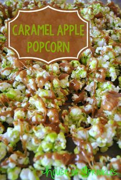 Homemade Caramel Apple Popcorn Recipe! So yummy and perfect for parties! This easy and quick popcorn treat will have your friends and family begging for the recipe!