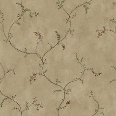"Welcome Home Vine Berries 33' x 20.5"" Scroll Distressed Wallpaper"