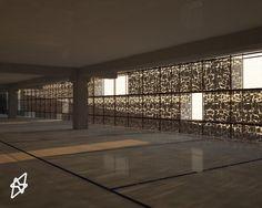 render interno parcheggio interrato  3D studio max - vray - photoshop