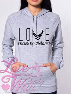 Love Knows No Distance Air Force pullover hoodie  by Loveandwarco, $38.00