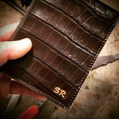 Alligator Wallet customized for customer with initials in Copper. Dark Brown. Nicola Meyer the Leathersmith www.nicolameyer.com #alligator #alligators #wallet #wallets #crocodile #crocodilebirkin #crocodileleather #alligatorskin #alligatorbag #crocodileskin #crocodiletattoo #crocodilehunter #crocodiledundee #crocodileshoes #crocodileleather #crocodilebelts #crocodilestrap #crocodilehermes