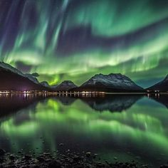 Emerald skies in #Troms #northernnorway #norway #northernlightsnorway : @frdalheim  see link in bio for Northern Lights tours and offers!