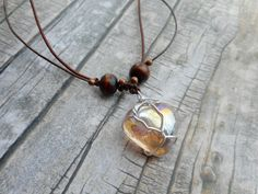 Homemade necklace genuine leather straps / Heart shaped glass pendant wire wrapped by JHFWBeadsAndFindings