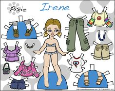 Irene is my outdoors loving paper doll for printing. She's also available on the blog in black and white for coloring.