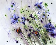 Iris Abstract Expressionism, Abstract Art, Original Art, Original Paintings, Iris Painting, Bird Artists, Irish Landscape, Irish Art, Lilac Flowers