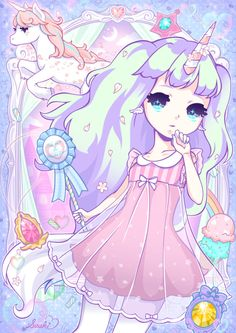✮ ANIME ART ✮ pastel. . .unicorn. . .girl. . .long hair. . .dress. . .ribbons. . .flower petals. . .sparkling. . .cute. . .kawaii