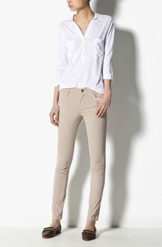 Stone colour smart casual trousers.
