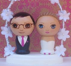 Custom Wedding Cake Toppers with Flowered Arch by dandelionland
