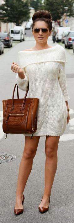 Sukienka White Knit One Shoulder Mini Dress by Stylish !