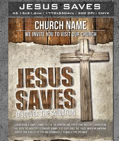 Jesus Saves Flyer Template — Photoshop PSD #conference #poster • Available here → https://graphicriver.net/item/jesus-saves-flyer-template/6084449?ref=pxcr