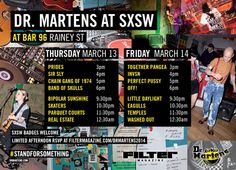 Dr. Martens At SXSW 2014 | Thursday, March 13 - Friday, March 14, 2014 | 3-7pm | Bar 96 at 96 Rainey ST., Austin, TX 78701 | Live music showcases; badges/wristbands have priority, but afternoon parties are open to public with RSVP (subject to capacity) | RSVP at http://filtermagazine.com/drmartens2014