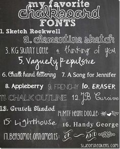 Love the font vaguely pepulsive for the hand written chalkboards