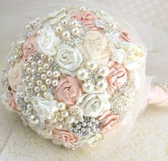 Brooch Bouquet Pearl Bouquet Bridal Bouquet in Blush by SolBijou, $450.00