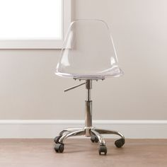 South Shore Clear Acrylic Office Chair with Wheels by South Shore Furniture Rolling Office Chair, Swivel Office Chair, Office Chairs, Rolling Chair, Office Decor, Living Room Chairs, Dining Chairs, Desk Chairs, Side Chairs