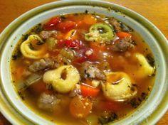 Berkshire Kitchen - http://berkshirekitchen.blogspot.com/ Sausage, tortellini, and bean soup.
