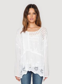 215697196bc528 Embrace eclectic chic in the Plus Size Johnny Was MIX QUILT TUNIC! This  boho top features detailed contrast panels of crochet, eyelet, openwork  lace, ...