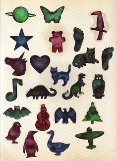 oily stickers - These we're the coolest when they came out! And if you left them in the sun then they turned all black and got ruined.
