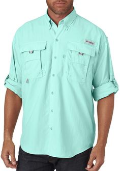 columbia men's bahama? ii long-sleeve shirt - gulf stream (m)