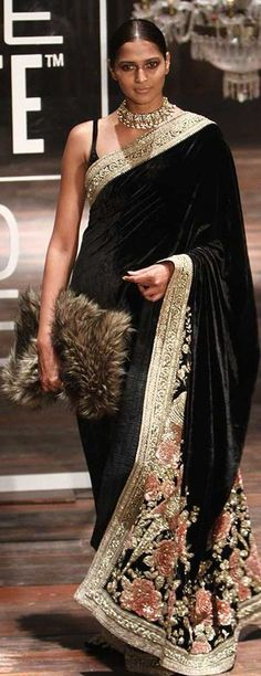 Sabyasachi at Lakmé Fashion Week winter/festive 2016. I don't know about the furry side thing??? Rest is all awesome.