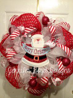 Merry Christmas Santa Clause Deco Mesh by JenniferBoydDesigns, $80.00