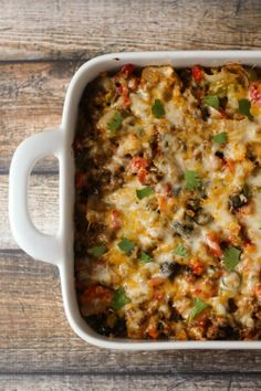 Beefy nacho casserole recipe ~ For a healthier version, I substituted the beef for extra lean ground turkey and it ended up being delicious!