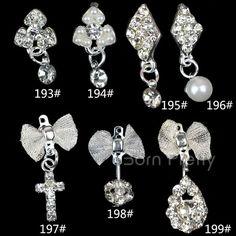 $0.59 2Pcs Dazzling Rhinestoned Diamond Cross Drop Dangle Charm 3D Nail Art Decoration - BornPrettyStore.com