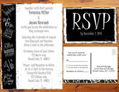 Printable Black and White Wedding Invitation Fun Whimsy (Digital File)