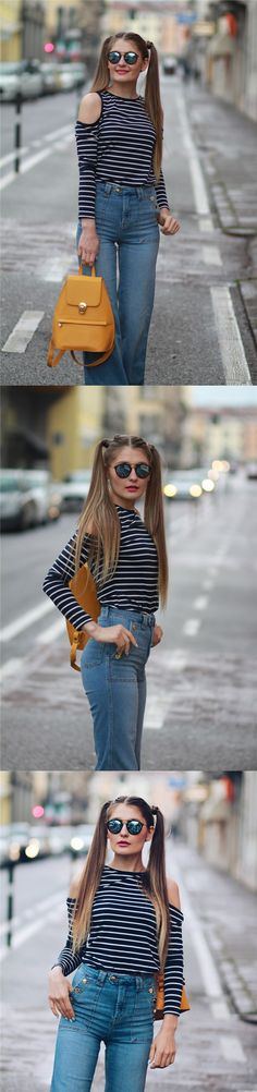 #street style #casual summer outfits   Inspirating customer photos&reviews-newchic Casual   Strapless Stripe T-shirts