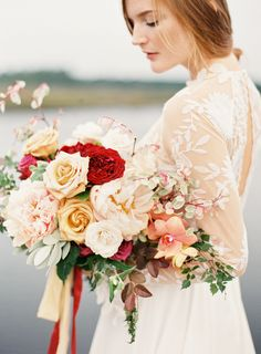 Fall floral bouquet perfection: http://www.stylemepretty.com/2016/02/16/rustic-elegant-wedding-inspiration-at-river-oaks/ | Photography: Lauren Peele - http://www.laurenpeelephotography.com/