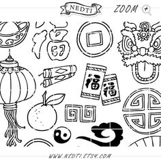 Chinese New Year Clipart Chinese Zodiac Hand Drawn Clip by Nedti Chinese Icon, New Year Clipart, Line Doodles, Chinese Zodiac, Chinese New Year, Cnc, Hand Drawn, Christmas Cards, How To Draw Hands