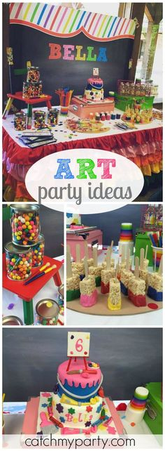 What a fun and creative art themed birthday party! See more party ideas at CatchMyParty.com!