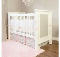 The Alexis Crib is one of our most beloved and classic heirloom cribs. A fit for any girl's nursery, the Alexis Crib sports a timeless design that will last for years to come. We make our cribs to adhere to the highest safety standards.  Your Alexis Crib will shine with an accent color! Choose from over 30 different colors and stains to customize your piece to your unique personality.