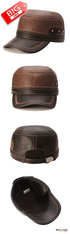Unisex PU Leather Earflap Ear Muffs Baseball Cap Adjustable Plush Lining  Golf Windproof Outdoor Hat. SombrerosGorrasSombreros De CueroOrejerasCajas  ... 0da8796ddd3