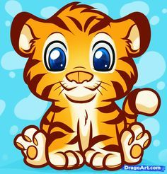 cartoon baby animals   How to Draw an Anime Tiger, Step by Step, anime animals, Anime, Draw ...