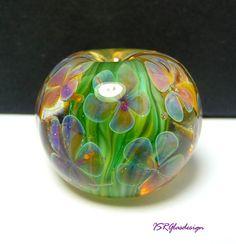 Flower meadow lampwork bead focal made by ISR von ISRGlasdesign