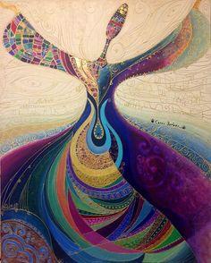 dancing lady art by Canan Berber Art Arabe, Whirling Dervish, Arte Fashion, Iranian Art, Turkish Art, Arabic Art, Mosaic Art, Islamic Art, Painting Inspiration