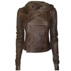RICK OWENS Leather Hooded Short Jacket ($955) ❤ liked on Polyvore featuring outerwear, jackets, coats, coats & jackets, tops, leather biker jacket, leather jackets, brown motorcycle jacket, brown moto jacket and genuine leather jackets