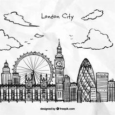 Tiré par la main de London City Vecteur gratuit