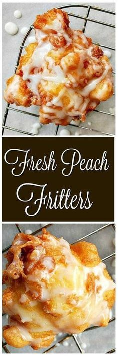 Fluffy, soft, moist and loaded with fresh peaches…Peach Fritters! Fluffy, soft, moist and loaded with fresh peaches…Peach Fritters! Weight Watcher Desserts, Beignets, Peach Fritters Recipe, Fried Fritters Recipe, Köstliche Desserts, Dessert Recipes, Donut Recipes, Fruit Deserts Recipes, Plated Desserts