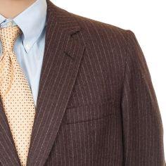 #HickeyFreeman Wool #Pinstripe #Blazer 2 Button Sport Coat Brown Mens 48 L #Fashion #Style #SomeLikeItUsed