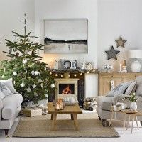 Traditional festive living room with Scandi cabin feel