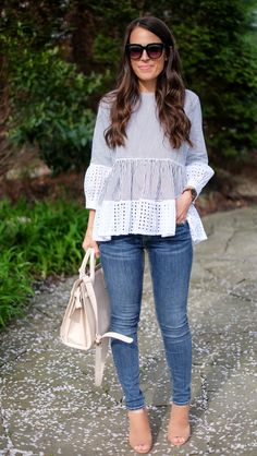 Stiped Eyelet Peplum Top | Casual Spring outfit