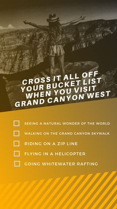 Cross it all off your when you visit Book your West Rim vacation now! Grand Canyon West, Visiting The Grand Canyon, Adventure Bucket List, Whitewater Rafting, Natural Wonders, Wonders Of The World, Las Vegas, Vacation, Books
