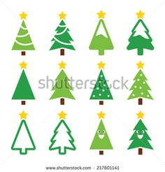 Christmas green tree with star vector icons set  #xmas