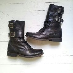 All Saints Damisi Boots SZ: UK 5 US 7.5 EUR 38 Worn twice...AllSaints Damisi Black Boots in a UK 5   This distressed military combat boots festures lace up and two buckle cuffs which can be worn up or down/folded.  Very comfortable!  All leather construction including the sole All Saints Shoes