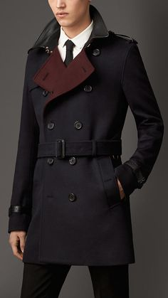 Burberry London Lambskin Detail Virgin Wool Cashmere Trench Coat - love the contrast colors!!!!