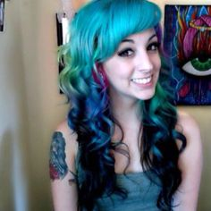 Turquoise, purple, dark blue, light green, and hot pink loose curls.