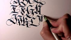 My own take on a blackletter upper case alphabet. Done with a Pilot parallel pen and Noodler's Bad Blue Heron ink. I've had a few requests for a video . Gothic Lettering, Tattoo Lettering Fonts, Doodle Lettering, Lettering Design, Hand Lettering, Number Calligraphy, Calligraphy Video, Calligraphy Tutorial, Calligraphy Practice