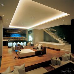 Modern Stairs, Living Space, Bar, Lighting, St Leon 10 in Cape Town, South Africa by SAOTA and Antoni Associates