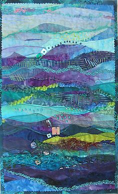 By  Daphne Greig.    Ocean Collage # 4 Art Quilt.      beautiful mixed media piece made of fabrics.